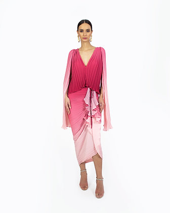 OMBRE DRAPED PLEATED SKIRT