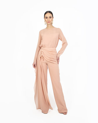 TOP AND PANTS WITH DRAPED DETAIL