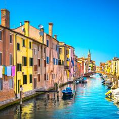 Chioggia town in venetian lagoon, water