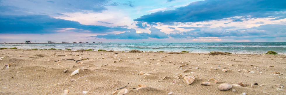 Beautiful seascape panorama with waves a