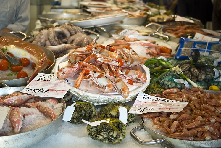 Tasty fish and seafood for sale at a mar