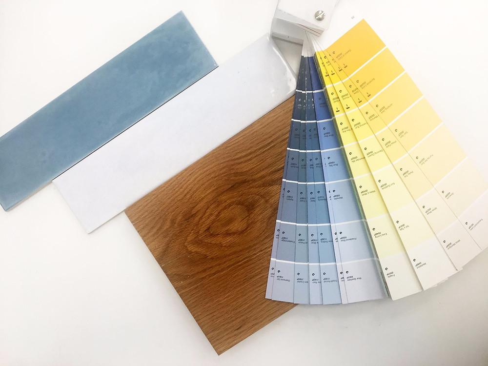 גיבוש קונספט עיצובי, חומרים וסקלת צבעים