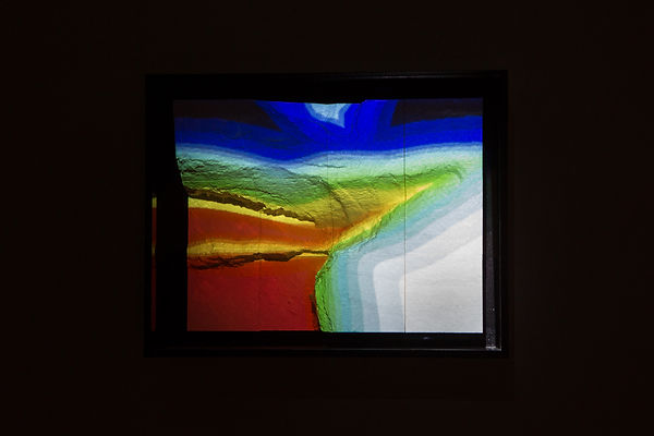 Chroma Terra – video projection mapping abstract colour-field digital video paintings onto digital elevation model of Xaqqa Valley by JP Migneco
