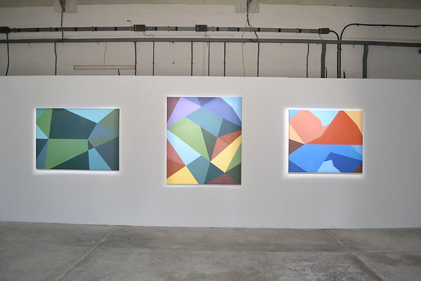 Abstract geometric colour-field pantig series by JP Migneco