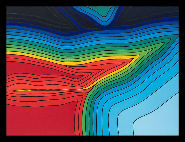JP MIgneco - Chroma Terra - Abstract mixed media chromo-stereoscopic artwork of a landscape topography
