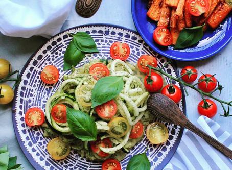 Skin Friendly Zucchini 'Pasta' With Creamy Avocado Basil Pesto