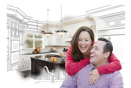 Kitchen sketch with happy couple