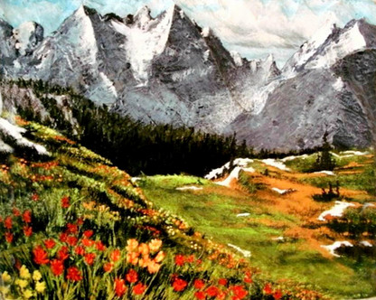Mountain scene with valley and wild flowers