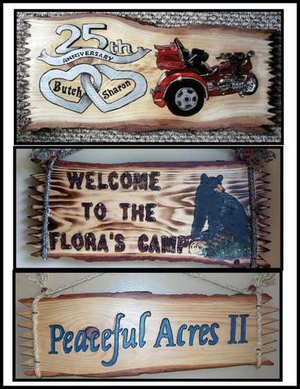 Custom Log Slab Signs