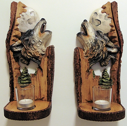 carved wooden howling wolf wall sconce