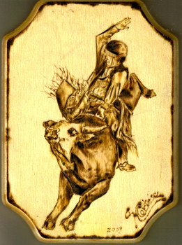 Bull Rider wood burning 1
