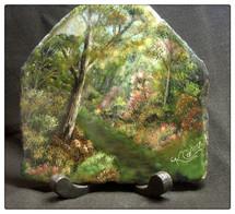Hiking path through wood acrylic painting