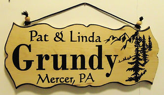 Custom Mountain and Pines Sign