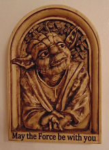 "Yoda Wood Carving ""may the force be with you"""