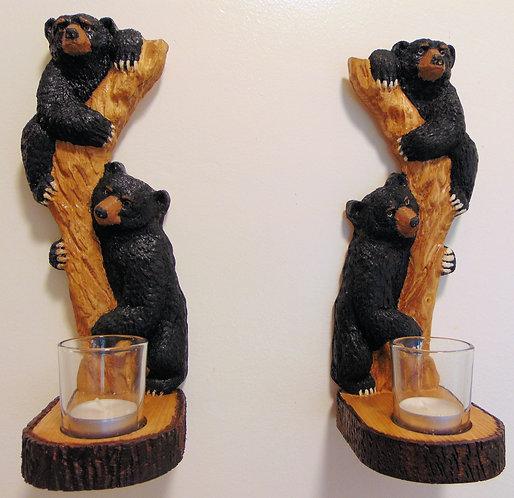 Wooden Carved Black Bear Cubs In Tree Sconce Set