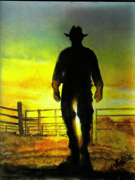 Cowboy at sunset pastel painting