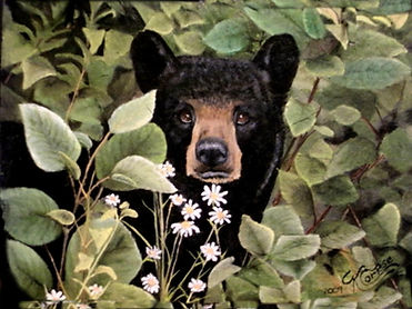 Cute Black Bear Acrylic Painting