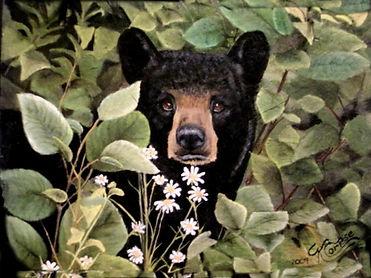 Cute Black Bear Acrylic Painting