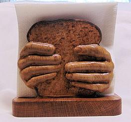 Wooden Napkin Holder Hands Holding Bread