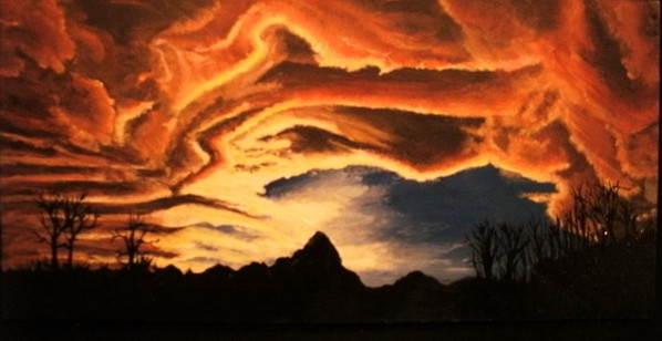 Fire in the sky painting
