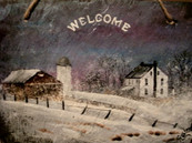 Farm in snow storm painting welcome plaque