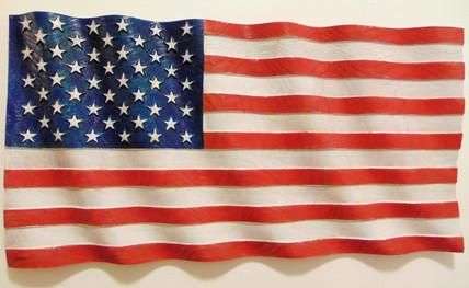 Wooden Wavy American Flag