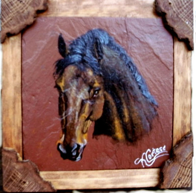 Bay horse acrylic painting on red roofing slate with a rustic natrual frame
