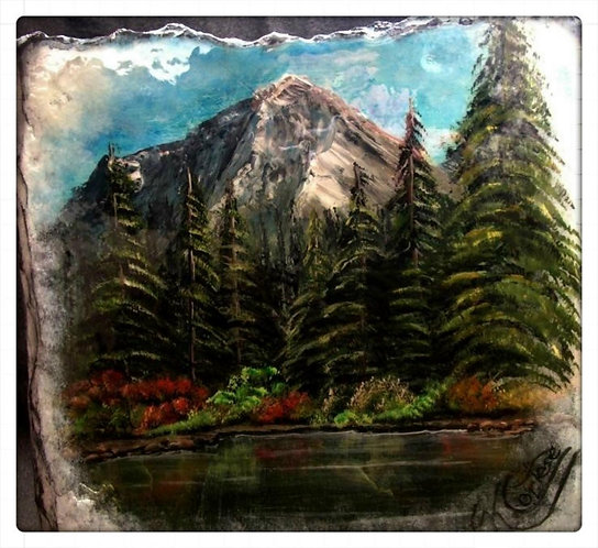 Mountain and Lake Scene Original one-of-a-kind Acrylic Slate Painting