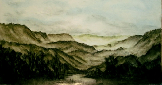 Pastel painting of a misty morning in Pennsylvania