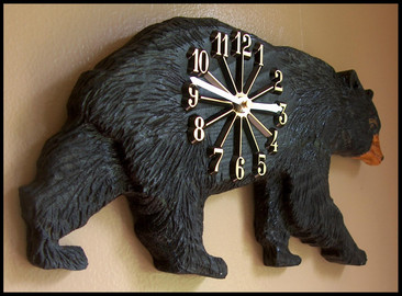 Carved Walking Black Bear Clock