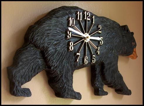 Carved Walking Black Bear Clock