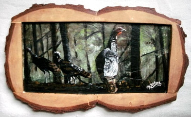 Slate painting of turkeys in Pennslyvania forest
