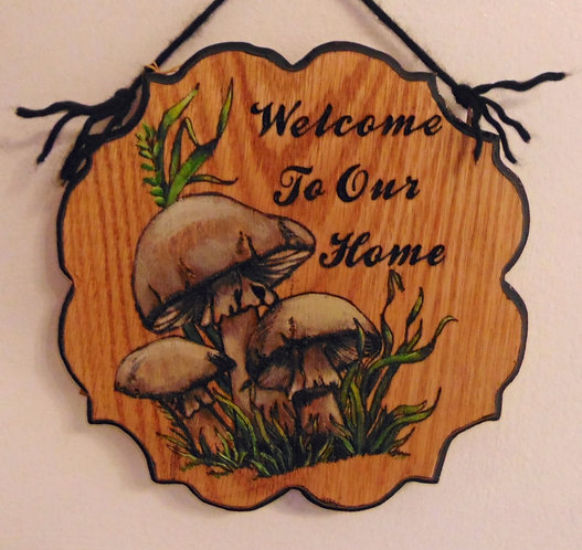 Mushroom Welcome To Our Home Plaque (Customizable)