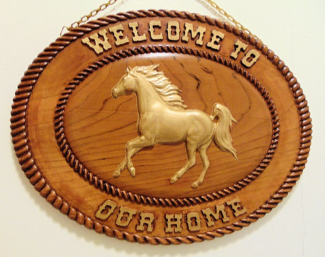 Running horse Western Welcome to our home Plaque
