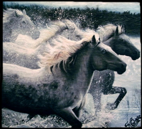 Oil Painting of horses running through water on gray roofing slate