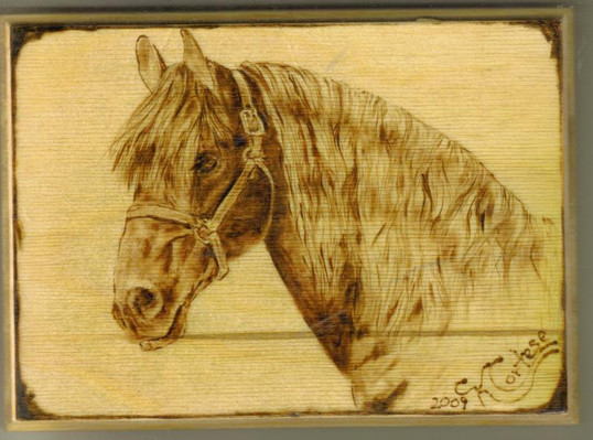 horse head wood burning