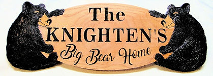 Custom wood carved bear sign