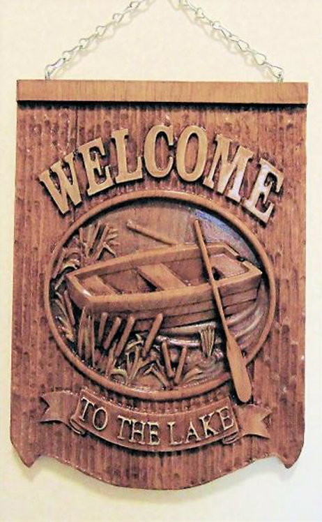 Wood Carving Welcome to the lake plaque