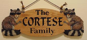 Custom wood carved raccoon sign