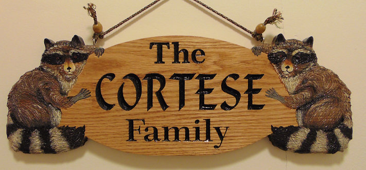 Carved Wooden Raccoon Name Address Sign (Made to Order)