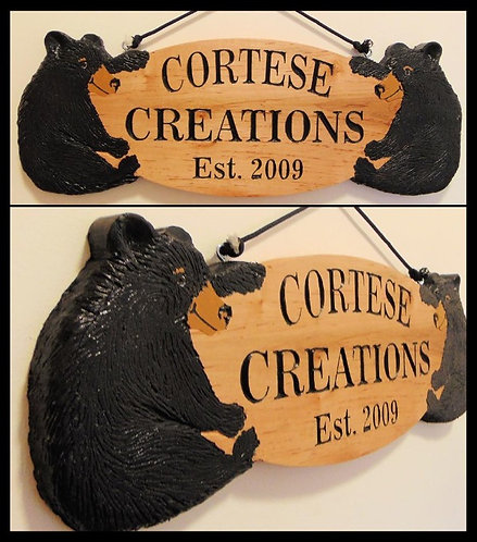 Custom Black Bear House Number/Name Sign (MADE TO ORDER)