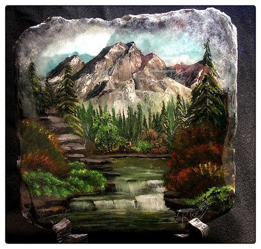 Mountain and Waterfall Scene Original one-of-a-kind Acrylic Slate Painting