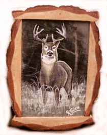 8 point buck acrylic painting on gray roofing slate with natural log frame