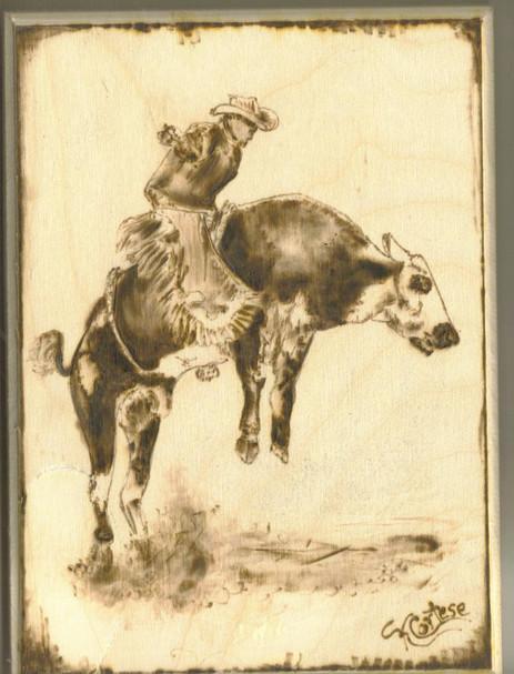 Bull Rider wood burning 2
