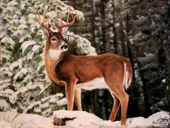 Oil painting on gray roofing slate of a 10 point buck in a winter forest