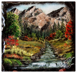 Mountain scene with stream