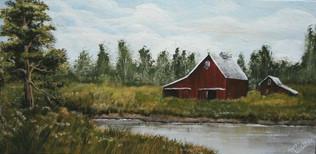 Barn and pond acrylic painting