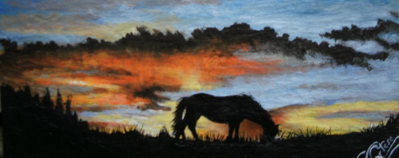 grazing horse sunset scene