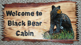 Log Slab Black Bear on Log Custom Sign