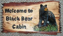 Custom Log Slab Black Bear on Log Custom Sign